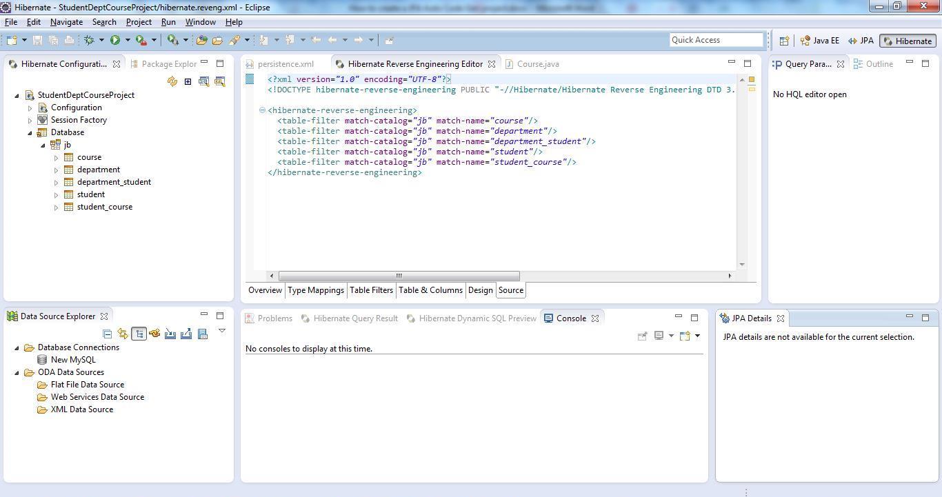 Reverse Code Generation of Hibernate/JPA POJO Entities Step 04