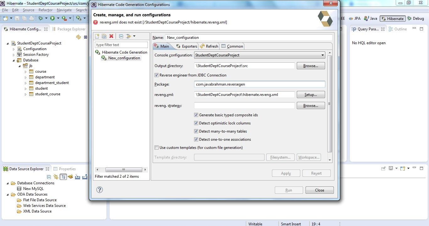 Reverse Code Generation of Hibernate/JPA POJO Entities Step 04 b
