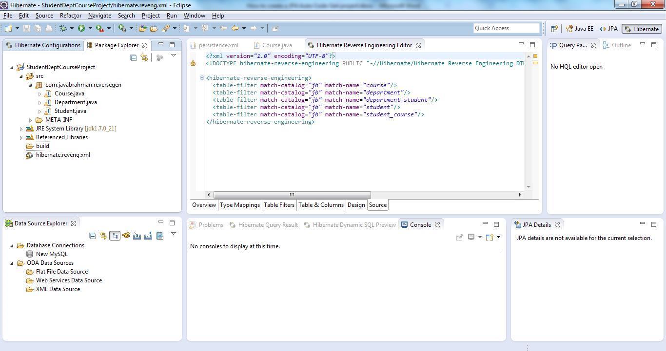 Reverse Code Generation of Hibernate/JPA POJO Entities Step 13