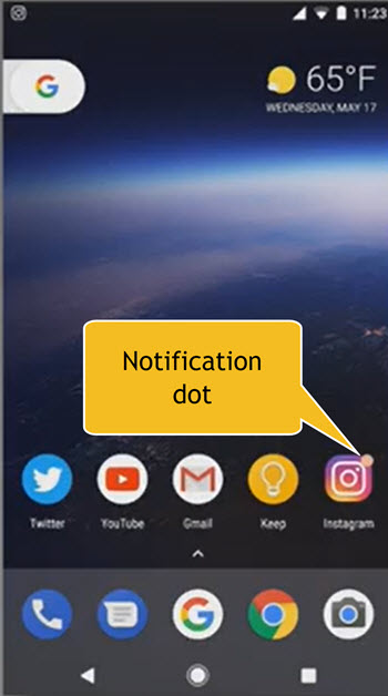Android O's Notification Dot on app icon