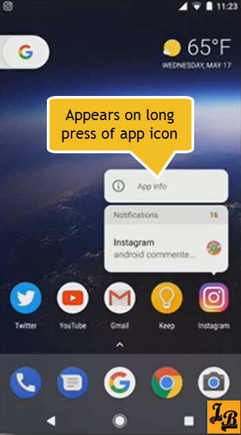 Android O's Notification Dot's window on long press