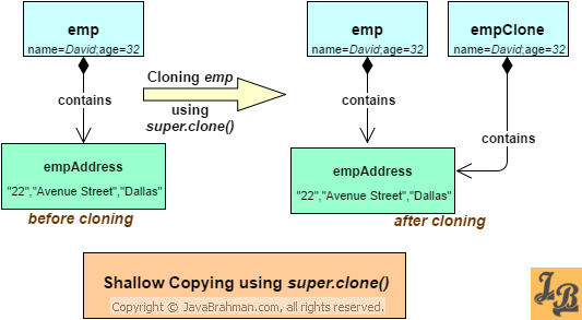 Shallow copying example - cloning in Java